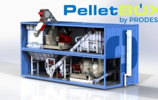 PelletBox Prodesa, unité conteneurisée pour la production de granulés de bois pellets